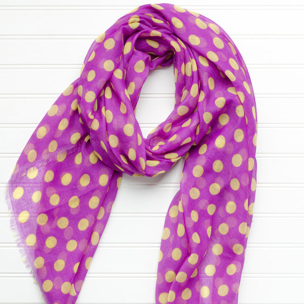 Wholesale Scarves - Large Traditional Polkadots-Purple Gold - Tickled Pink