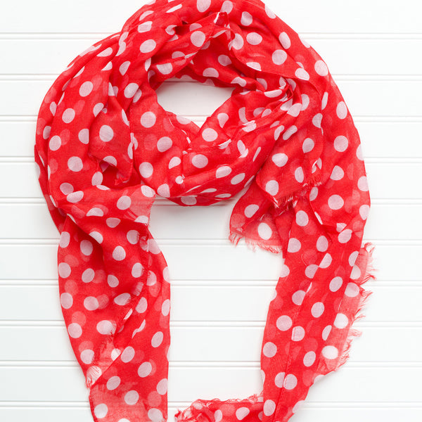 Wholesale Scarves - Large Traditional Polkadots - Red - Tickled Pink