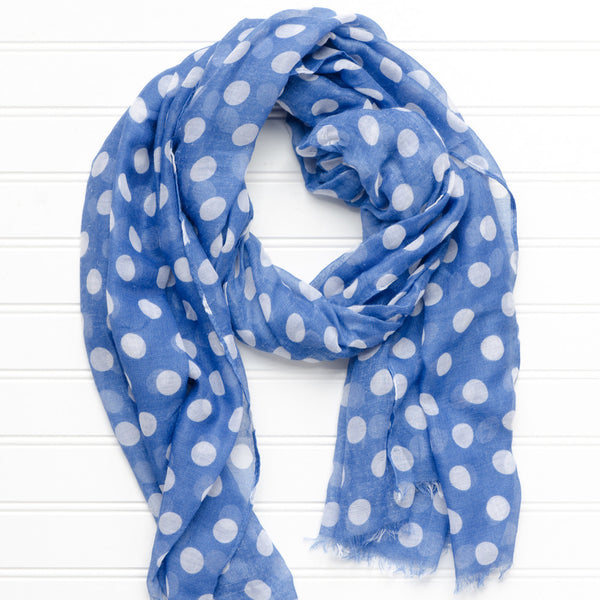 Wholesale Scarves - Large Traditional Polkadots-Royal Blue - Tickled Pink