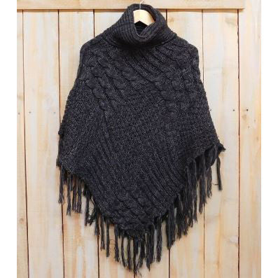 Wholesale Scarves - Patchwork Knit Poncho with Thick Fringe - Black - Tickled Pink