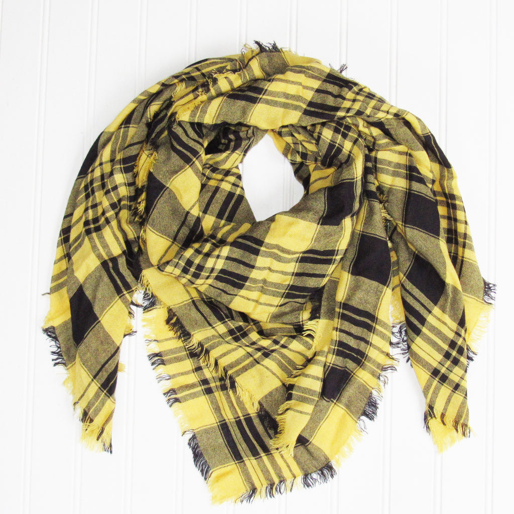 Soft Square Plaid Scarf - Black/Gold - Tickled Pink Wholesale