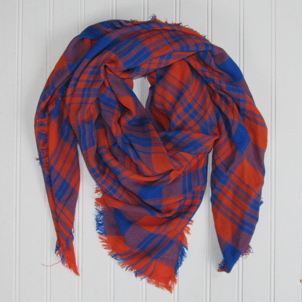 Soft Square Plaid Scarf - Blue/Orange - Tickled Pink Wholesale