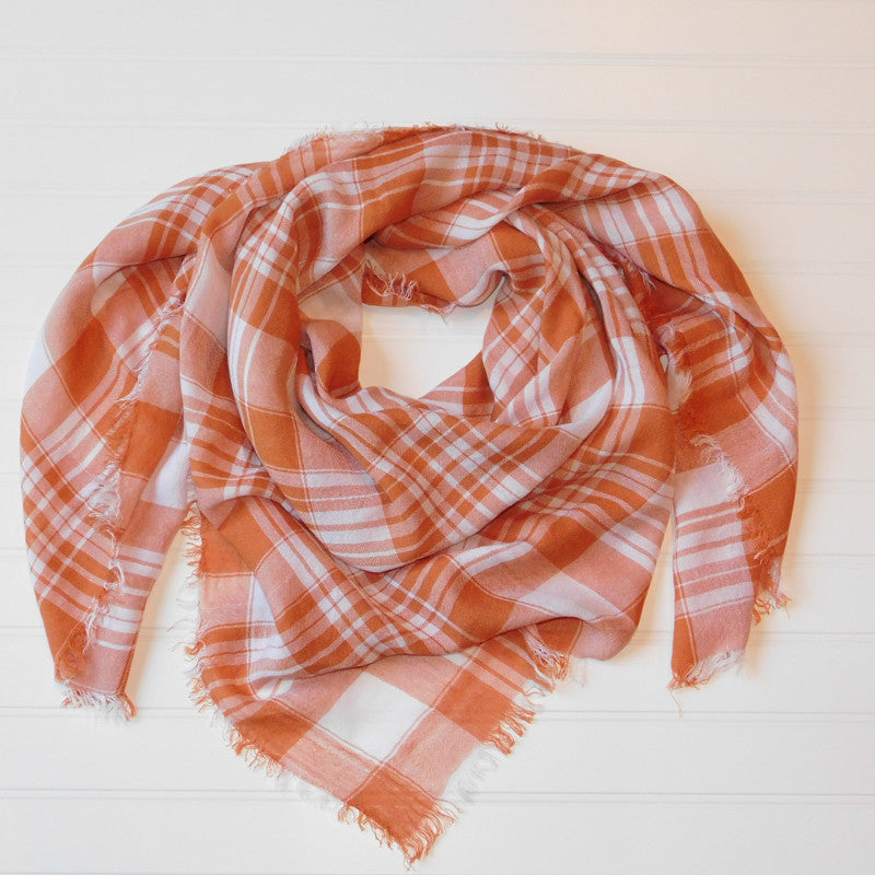 Wholesale Scarves - Soft Square Plaid Scarf - Burnt Orange/White - Tickled Pink