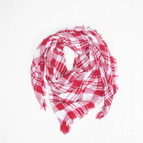 Wholesale Scarves - Soft Square Plaid Scarf - Crimson/White - Tickled Pink