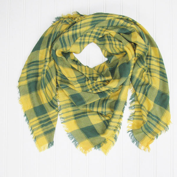 Wholesale Scarves - Soft Square Plaid Scarf - Green/Gold - Tickled Pink