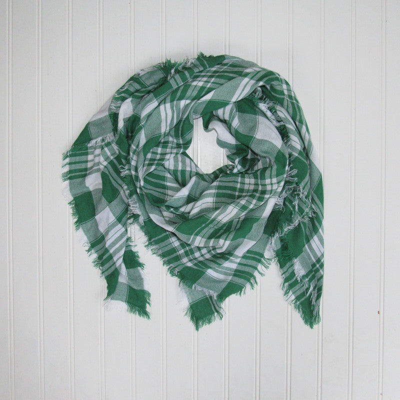 Soft Square Plaid Scarf - Green/White - Tickled Pink Wholesale