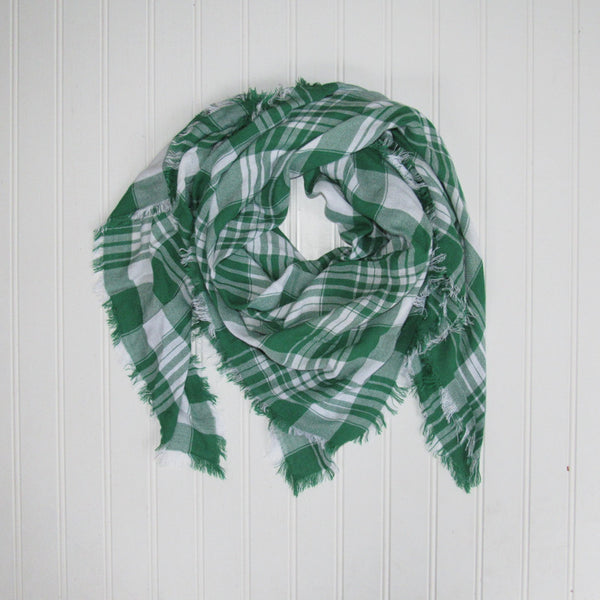 Wholesale Scarves - Soft Square Plaid Scarf - Green/White - Tickled Pink