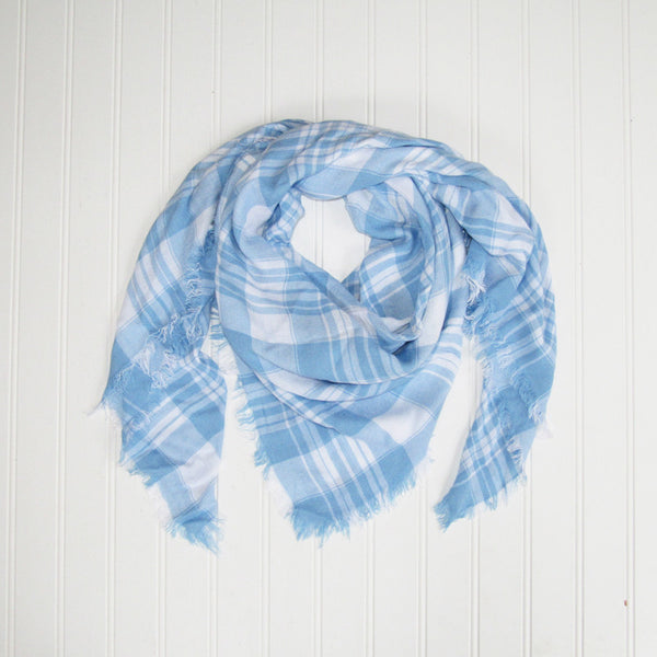 Wholesale Scarves - Soft Square Plaid Scarf - Light Blue/White - Tickled Pink