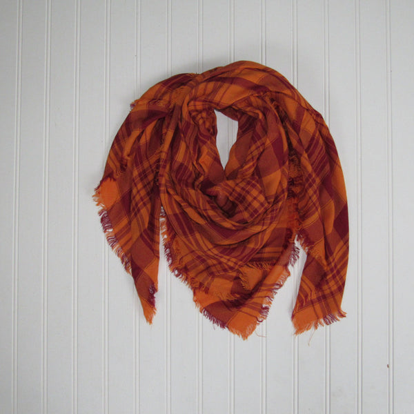 Wholesale Scarves - Soft Square Plaid Scarf - Maroon/Orange - Tickled Pink