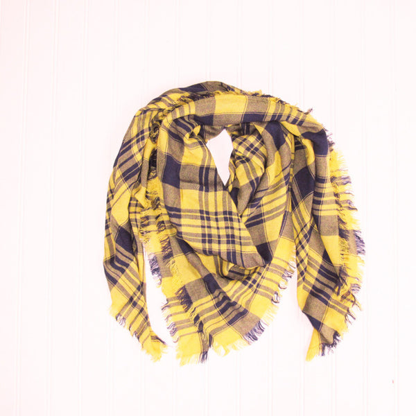 Soft Square Plaid Scarf - Navy/Gold - Tickled Pink Wholesale