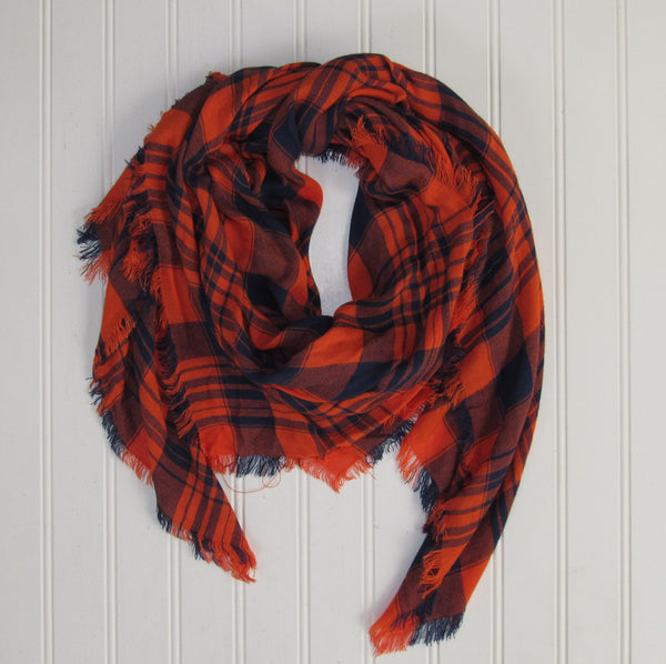 Wholesale Scarves - Soft Square Plaid Scarf - Navy/Orange - Tickled Pink