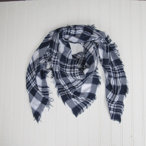 Wholesale Scarves - Soft Square Plaid Scarf - Navy/White - Tickled Pink