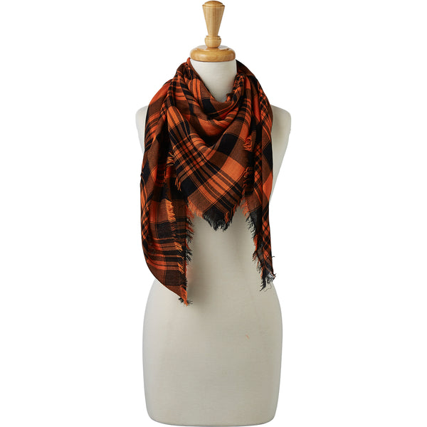 Wholesale Boutique Gifts - Soft Square Plaid Scarf - Orange/Black - Tickled Pink