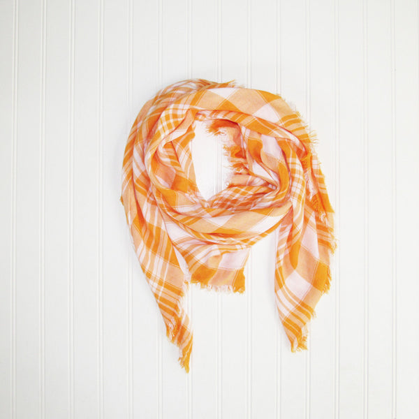 Wholesale Scarves - Soft Square Plaid Scarf - Orange/White - Tickled Pink