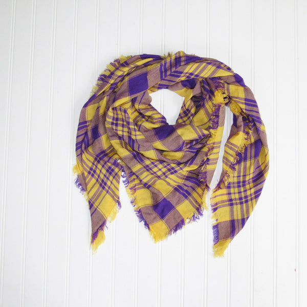 Wholesale Scarves - Soft Square Plaid Scarf - Purple/Gold - Tickled Pink