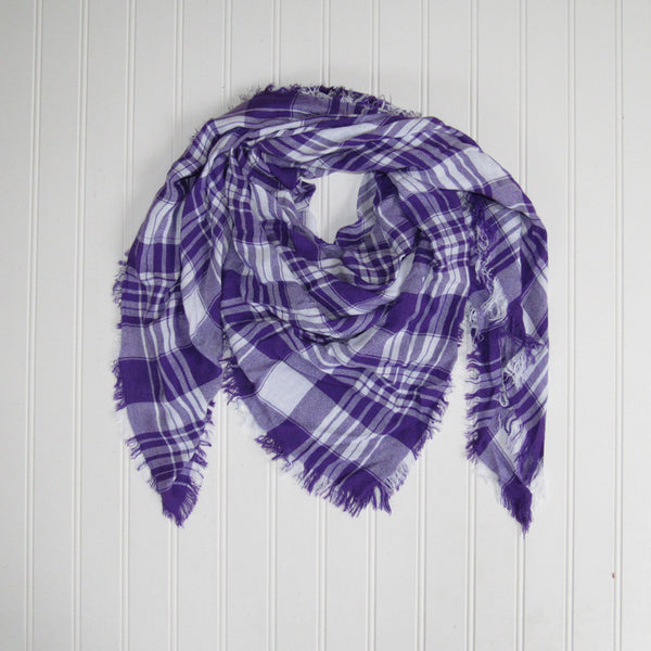 Wholesale Scarves - Soft Square Plaid Scarf - Purple/White - Tickled Pink