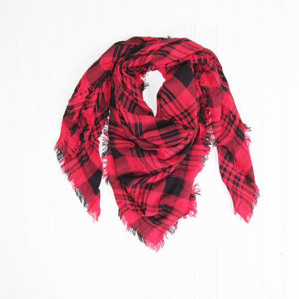 Wholesale Scarves - Soft Square Plaid Scarf - Red/Black - Tickled Pink