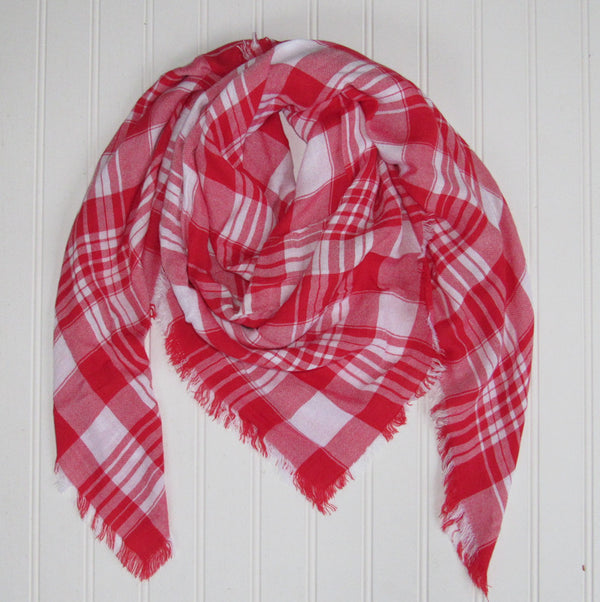 Wholesale Scarves - Soft Square Plaid Scarf - Red/White - Tickled Pink