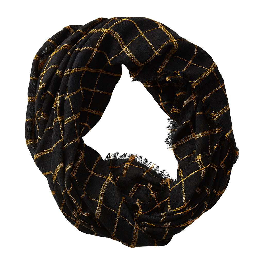 Lightweight Plaid Infinity - Black Gold - Tickled Pink Wholesale