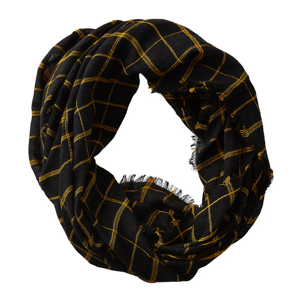 Wholesale Boutique Gifts - Lightweight Plaid Infinity - Black Gold - Tickled Pink