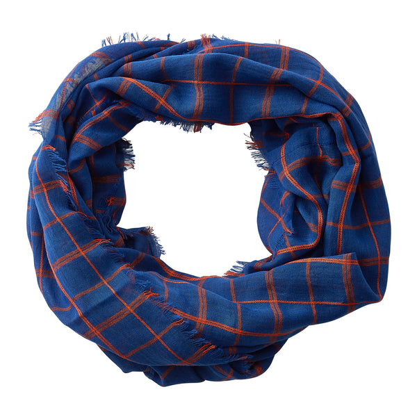 Lightweight Plaid Infinity - Blue Orange - Tickled Pink Wholesale
