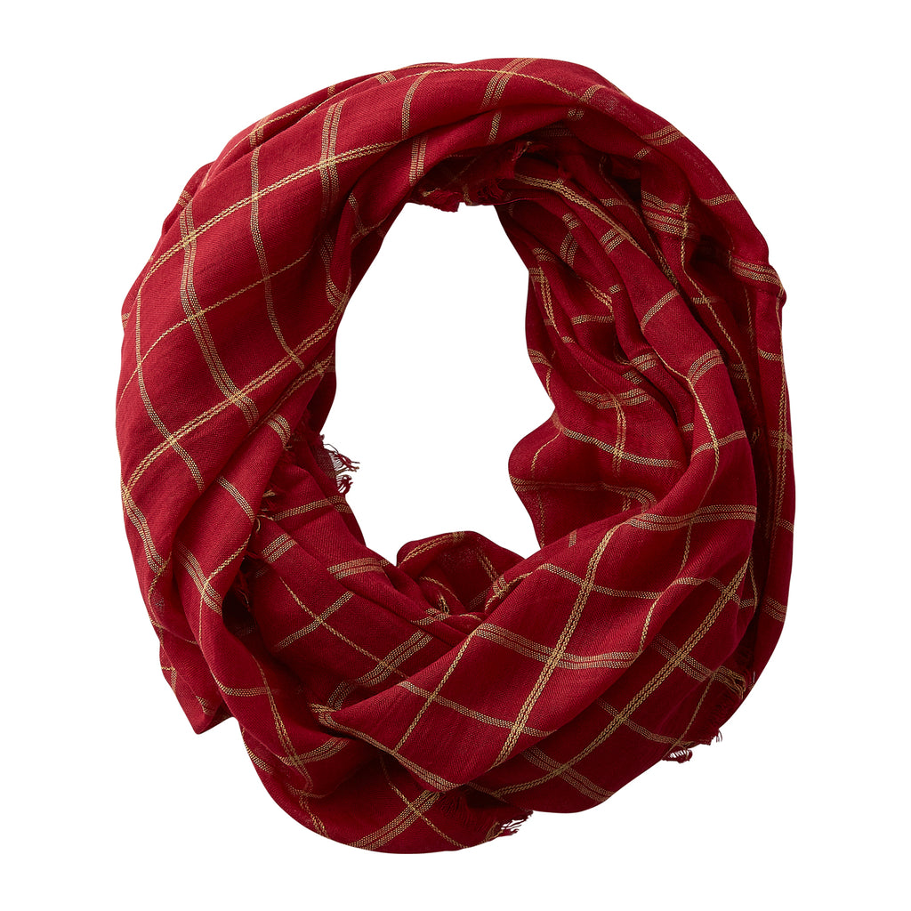 Lightweight Plaid Infinity - Garnet Gold - Tickled Pink Wholesale