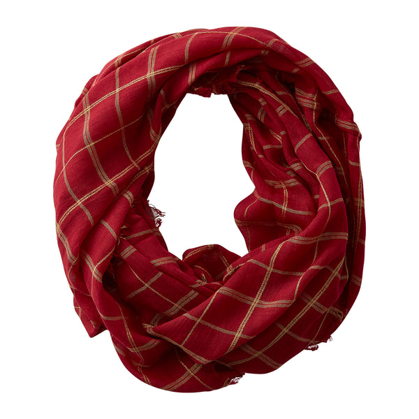 Wholesale Boutique Gifts - Lightweight Plaid Infinity - GarnetGold - Tickled Pink