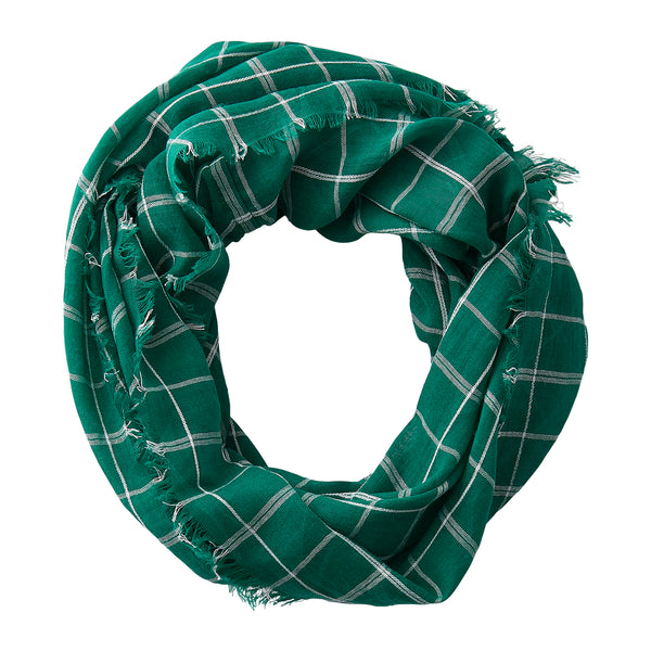 Wholesale Boutique Gifts - Lightweight Plaid Infinity - Green White - Tickled Pink