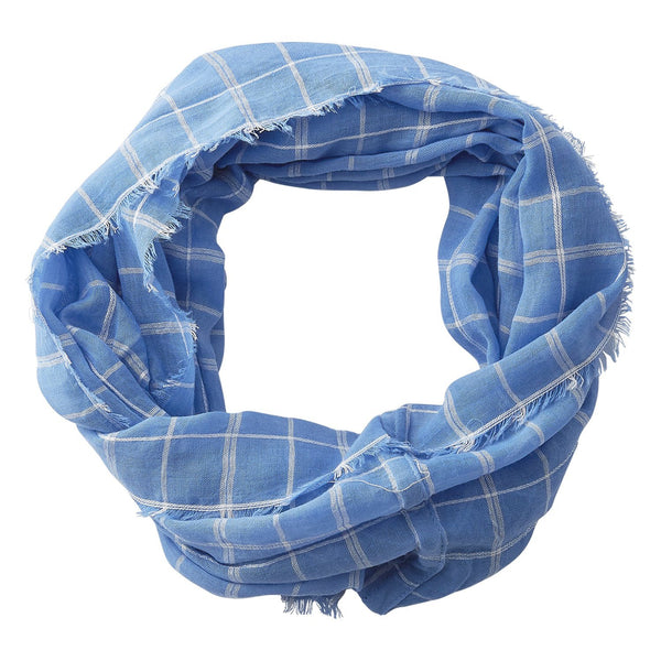 Wholesale Boutique Gifts - Lightweight Plaid Infinity - Light Blue - Tickled Pink