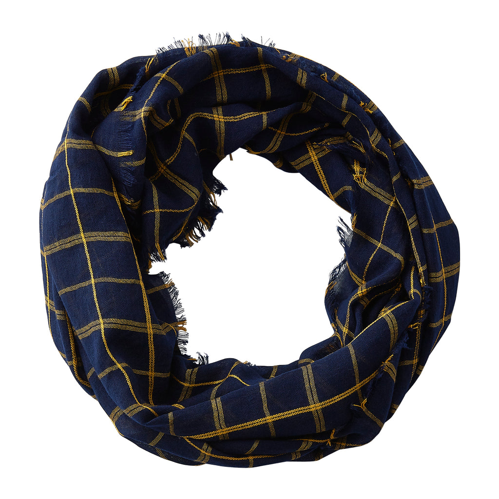 Wholesale Boutique Gifts - Lightweight Plaid Infinity - Navy Gold - Tickled Pink