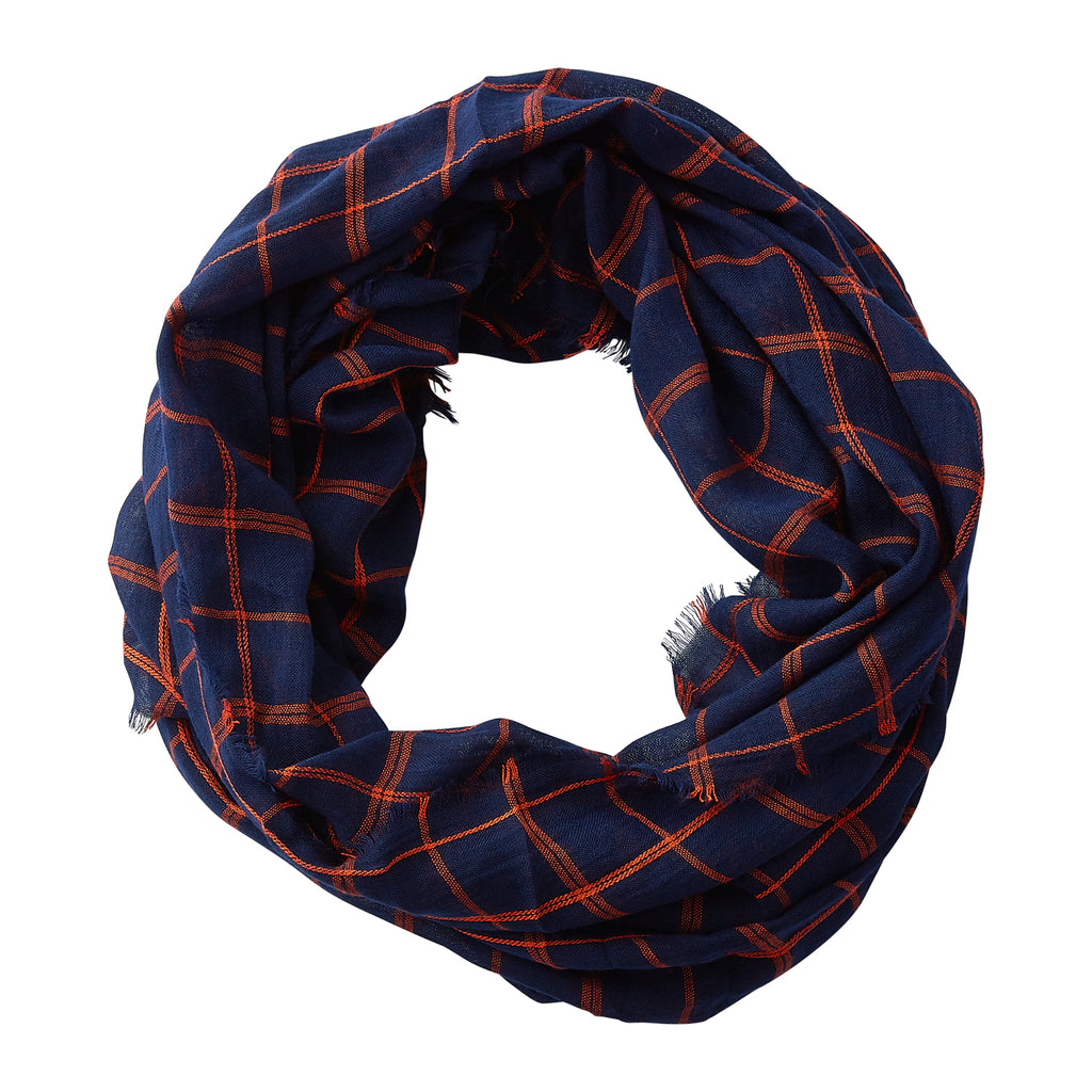 Lightweight Plaid Infinity - Navy Orange - Tickled Pink Wholesale