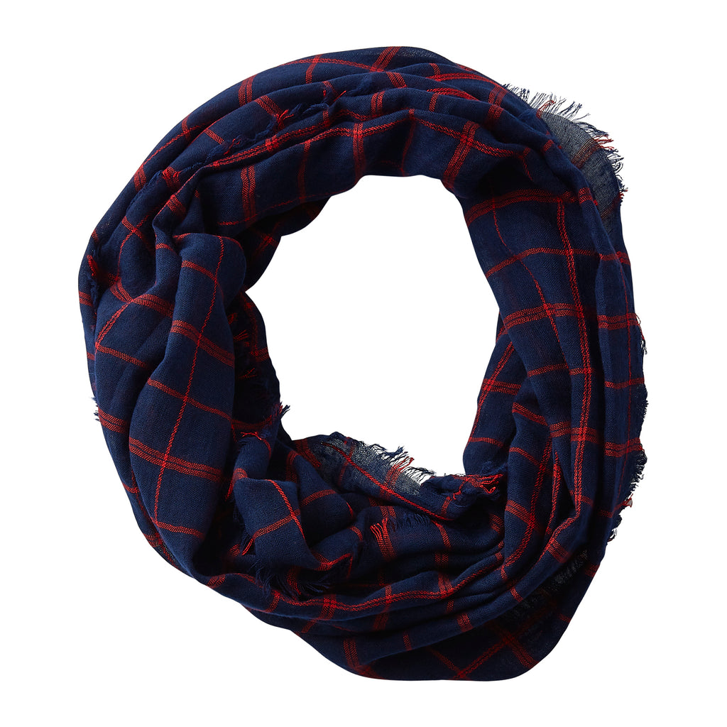Wholesale Boutique Gifts - Lightweight Plaid Infinity - Navy Red - Tickled Pink