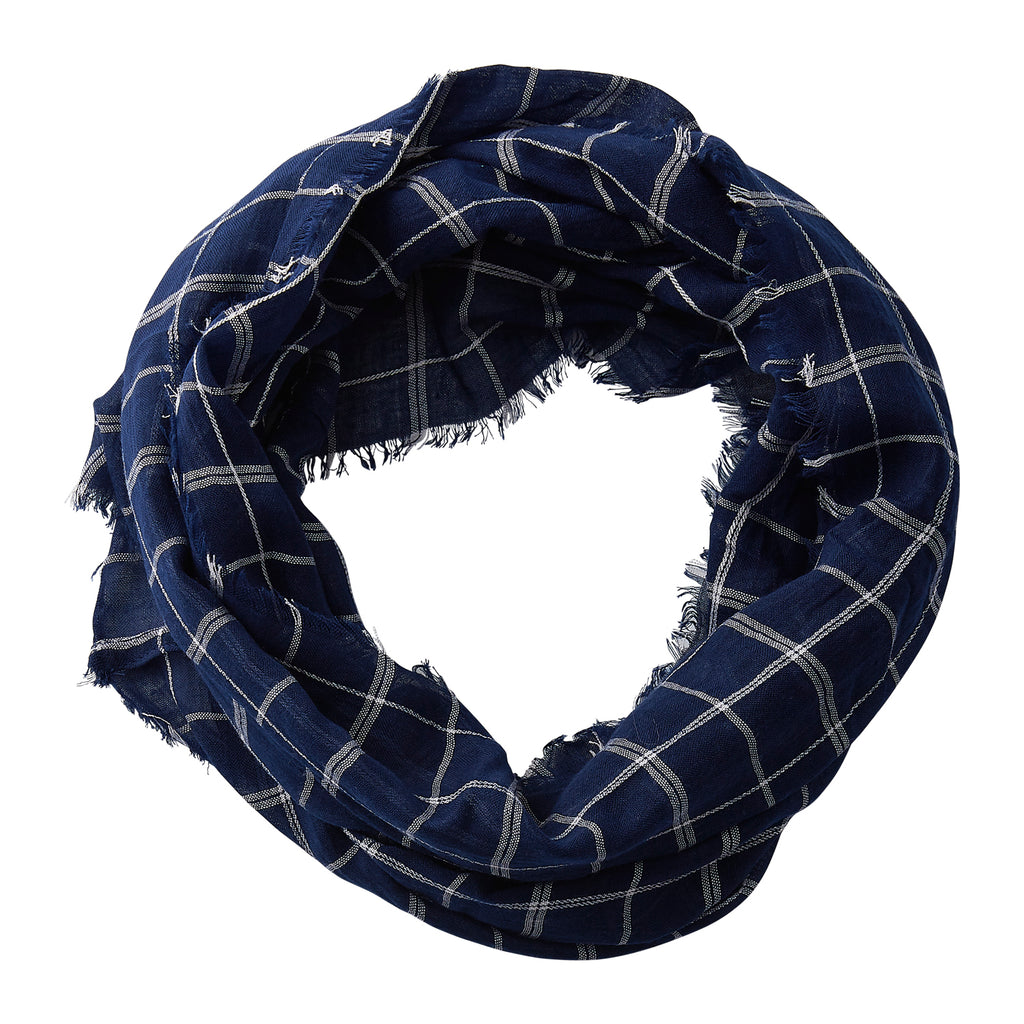 Wholesale Boutique Gifts - Lightweight Plaid Infinity - Navy - Tickled Pink