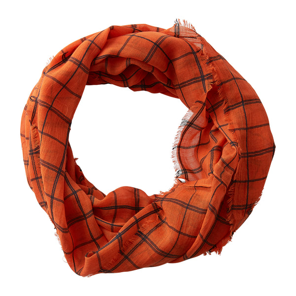 Wholesale Boutique Gifts - Lightweight Plaid Infinity - Orange Black - Tickled Pink