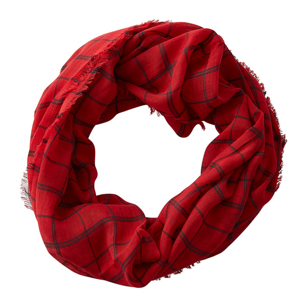 Wholesale Boutique Gifts - Lightweight Plaid Infinity - Red Black - Tickled Pink