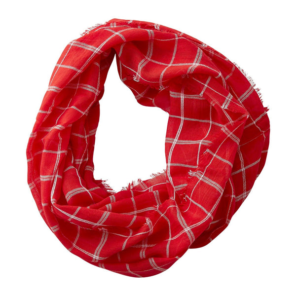 Wholesale Boutique Gifts - Lightweight Plaid Infinity - Red - Tickled Pink