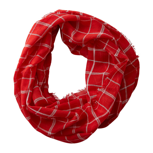 Lightweight Plaid Infinity - Crimson White - Tickled Pink Wholesale