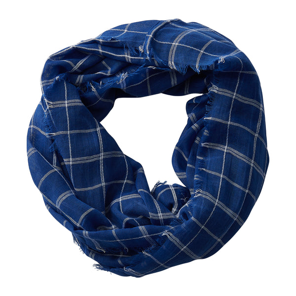 Lightweight Plaid Infinity - Royal Blue - Tickled Pink Wholesale