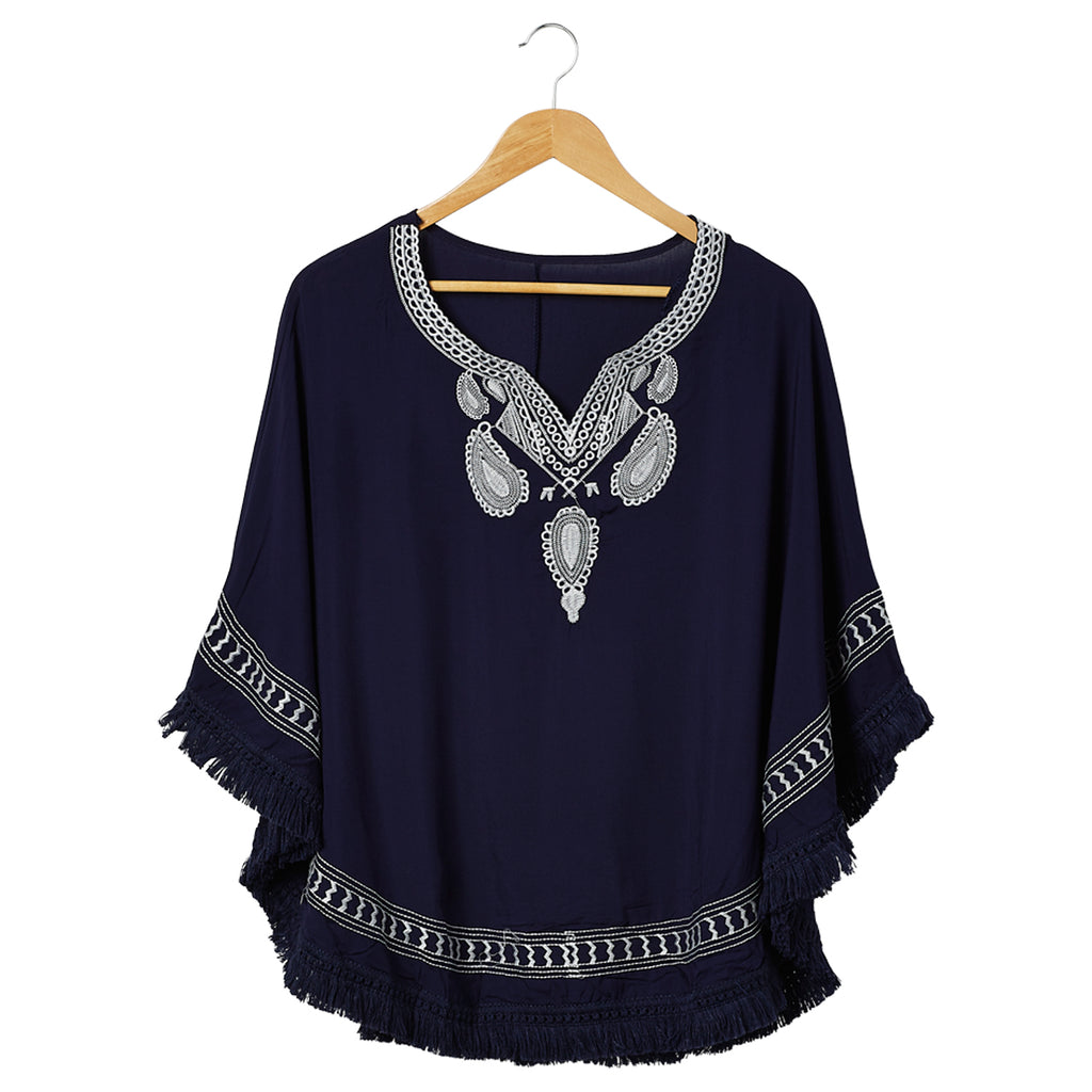 Embroidered Beach Poncho - Navy - Tickled Pink Wholesale