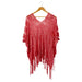 Wholesale Boutique Gifts - Cora Fringed Poncho - Coral - Tickled Pink