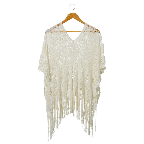 Wholesale Boutique Gifts - Cora Fringed Poncho - Ivory - Tickled Pink