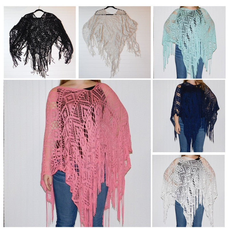 Wholesale Scarves - Cora Fringed Poncho - Assorted - Tickled Pink
