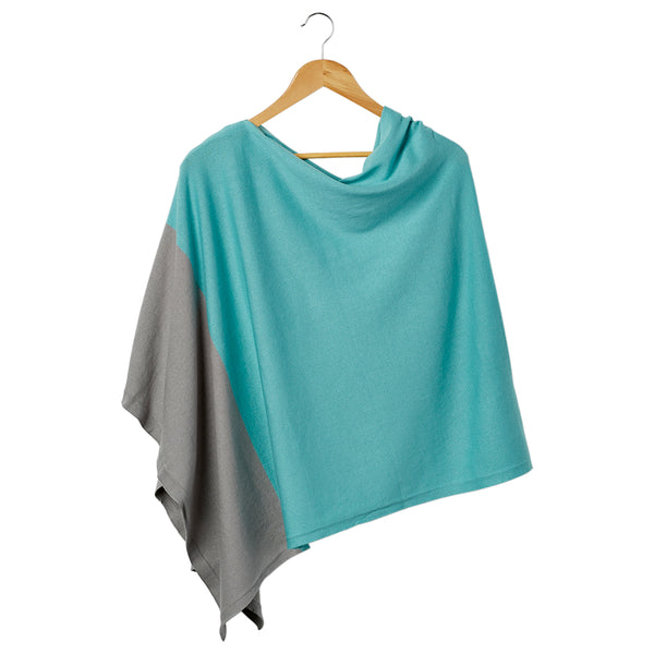 Wholesale Boutique Gifts - Color Block Cotton Poncho - Aqua - Tickled Pink
