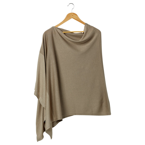 Wholesale Boutique Gifts - Color Block Cotton Poncho - Beige - Tickled Pink