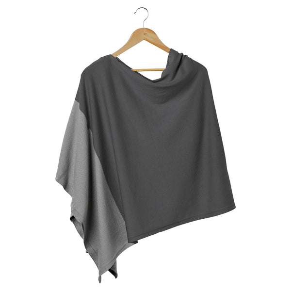 Wholesale Boutique Gifts - Color Block Cotton Poncho - Gray - Tickled Pink