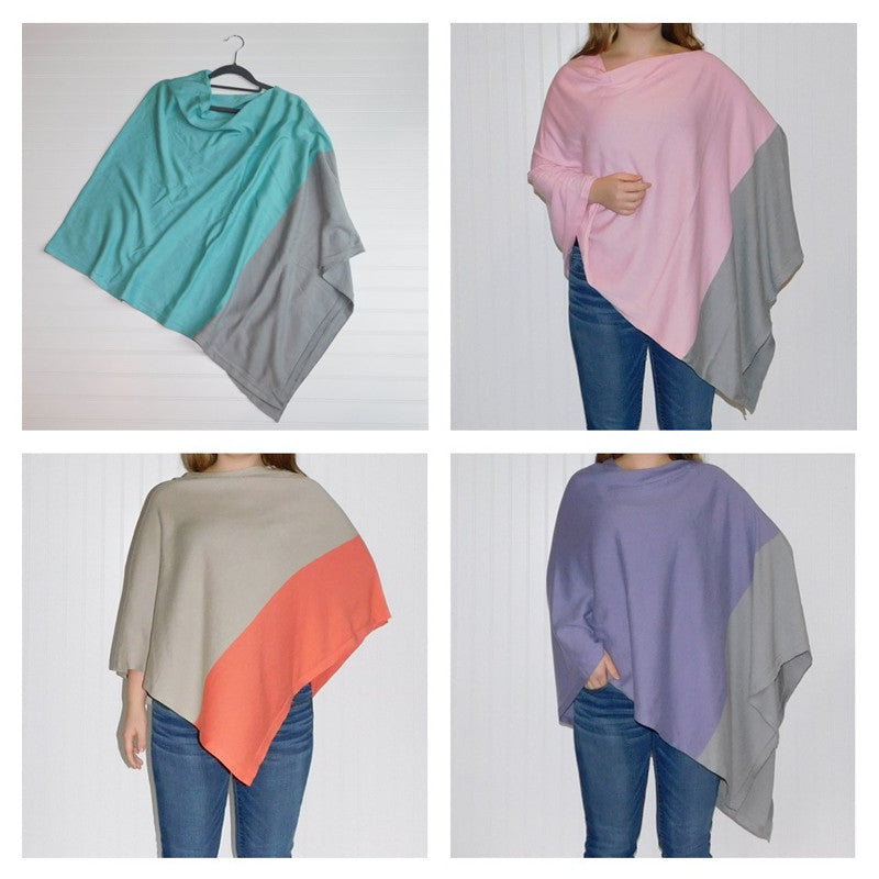 Wholesale Scarves - Color Block Cotton Poncho Assortment - Tickled Pink