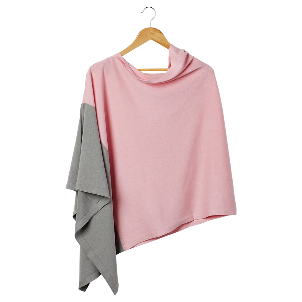 Color Block Cotton Poncho - Pink - Tickled Pink Wholesale