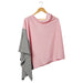Wholesale Boutique Gifts - Color Block Cotton Poncho - Pink - Tickled Pink