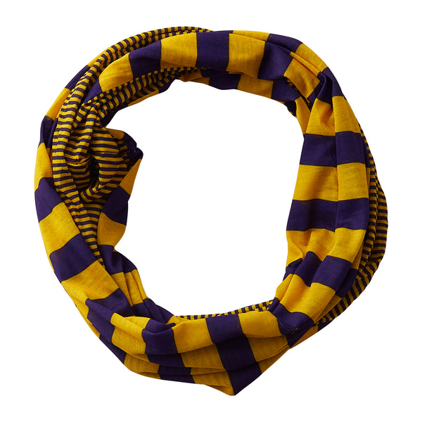Wholesale Boutique Gifts - Gameday Stripes Infinity - Purple/Gold - Tickled Pink