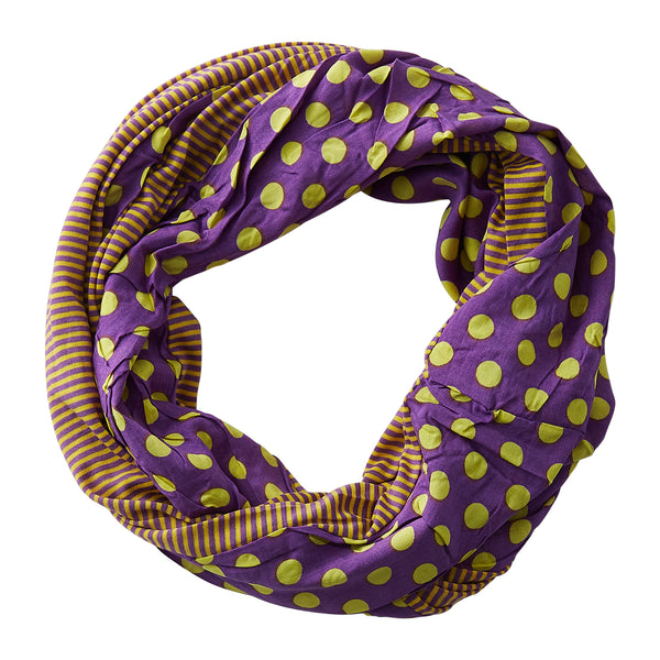Wholesale Boutique Gifts - Dots & Stripes Infinity - Purple Gold - Tickled Pink